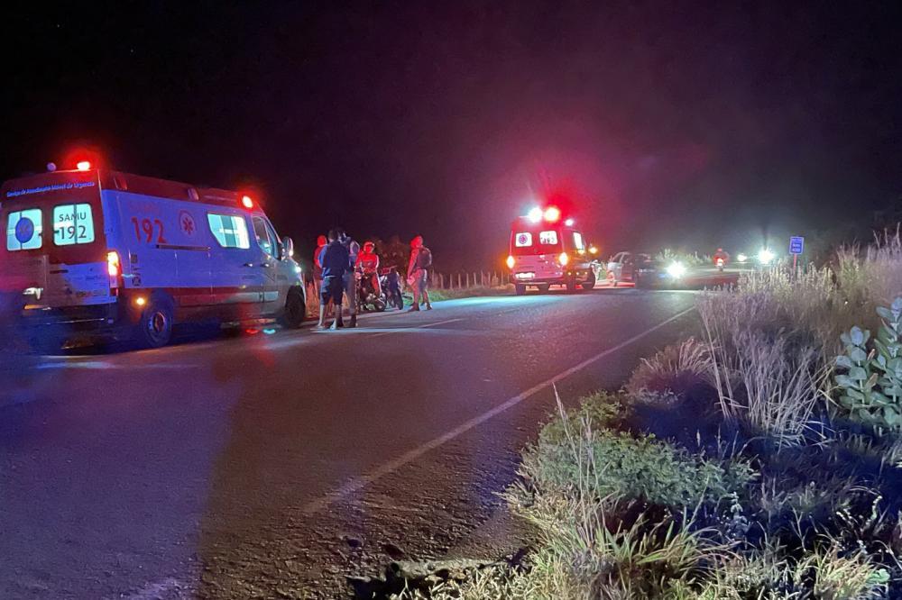 Livramento: Três pessoas ficaram feridas após colisão entre duas motocicletas