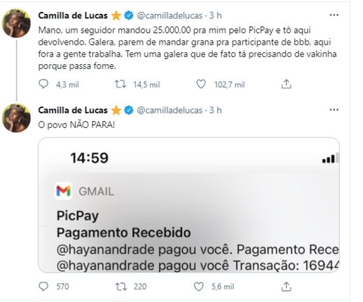 Camilla de Lucas devolve R$ 25 mil enviado por seguidor; 'Parem de dar grana a ex-BBB'