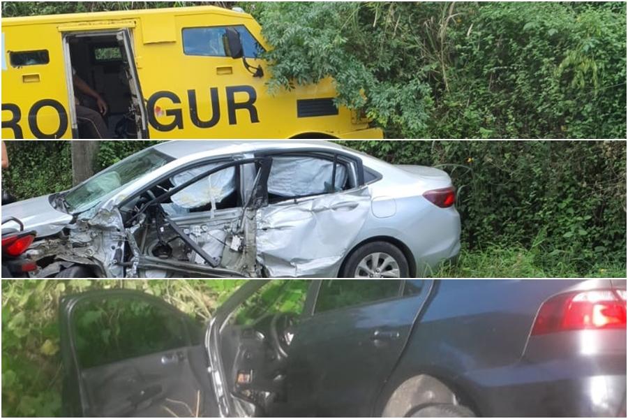 Seis pessoas ficam feridas após batida entre dois veículos de passeio e carro-forte