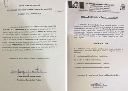 Eleições 2016: Editais de Re-ratificação e Convocação da Convenção do PDT de Livramento
