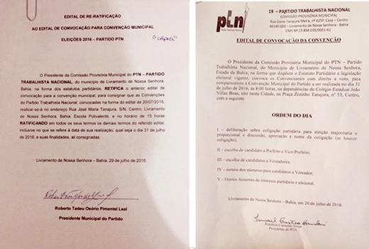 Eleições 2016: Editais de Re-ratificação e Convocação da Convenção do PTN de Livramento
